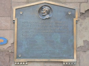 Lincoln speech marker, McLevy Hall