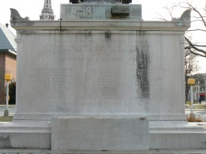 The rear (west) face of Naugatuck's World War Monument