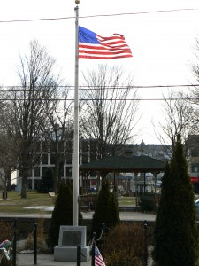 Outside Salem School in Naugatuck, facing east toward the Town Green