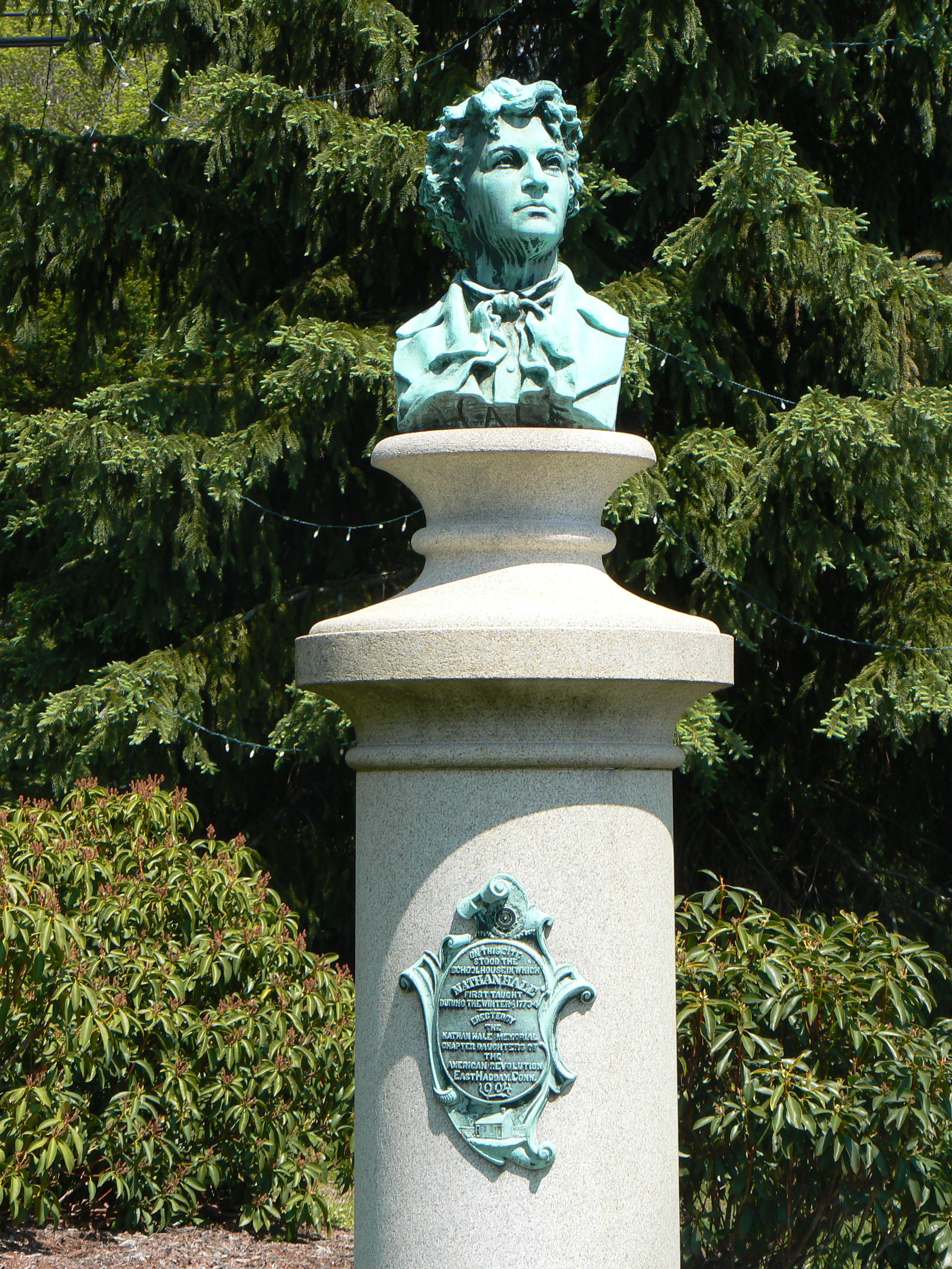 Nathan Hale Bust And Schoolhouse East Haddam Ct